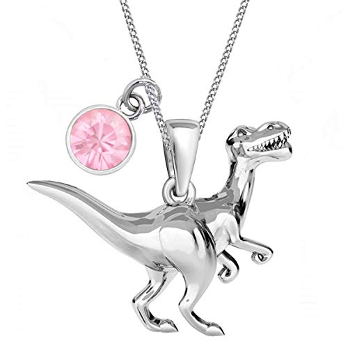Cubic Zirconia Dinosaur Pendant with Necklace 925 Sterling Silver Dino Chain for Girls Children Cz Pink
