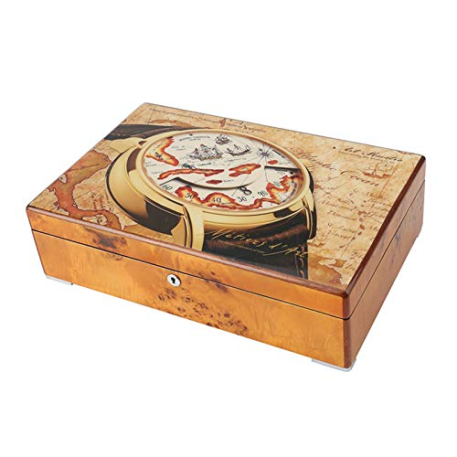 GYMEIJYG Caja De Almacenamiento De Reloj, 12 Ranuras Caja De Reloj De Madera Alta Capacidad Caja De Reloj con Cerradura para Guardar Joyas De Reloj (Color : Multi-Colored-b, Size : 36.5x24x10cm)