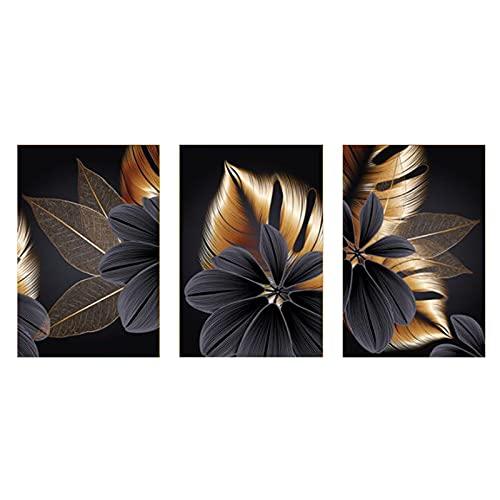 Impresión en Lienzo 3 piezas hojas dorada negra Decoración Pintura Arte de Pared Dormitorio Cuadro,21X30cmX3 No Frame
