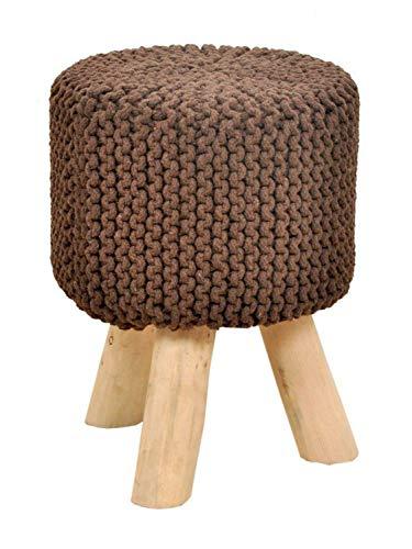 Sitzhocker Strick-Hocker Pouf Schemel mit Holzfüßen Ø 35 cm Höhe 45 cm Farbe Zimt