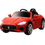 UEnjoy 12V Kinderauto Maserati Grancabrio Elektronik Kinderauto Fahrt auf Auto mit Fernbedienung, Federung, MP3-Player, Beleuchtung, Blau
