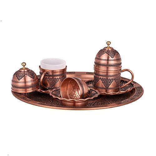 Orientalische Kaffeetassen Set mit Deckel ,Servier Platte und Süssigkeitenteller -Mokkatassen-Kahve Seti- Spezielle türkische Kaffe/Mokka tassen - Orientalische Kaffeetasse | für 2 Person