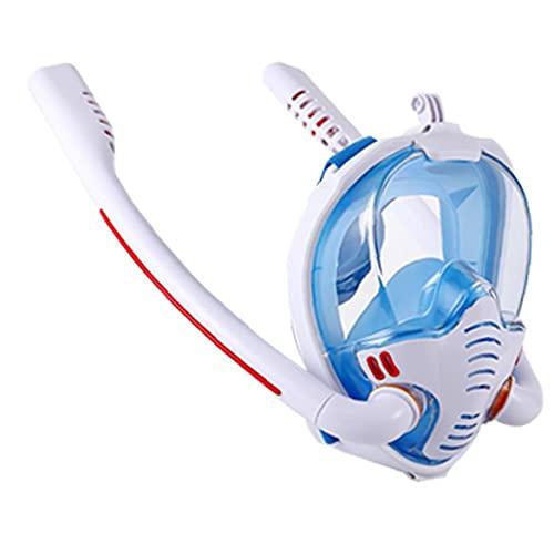 Máscara del Tubo respirador, Anti-Niebla Seca Snorkel Set para Las inmersiones Libres y Natación, Profesional Equipo de Snorkel Hombres Mujeres Niños Anti-Fugas Azul Blanco S M