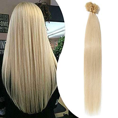 Extension Capelli Veri Cheratina 1 Grammo 50 Ciocche - 100% Remy Human Hair 50g Keratin Capelli Indiani (40cm #60 Biondo Platino)