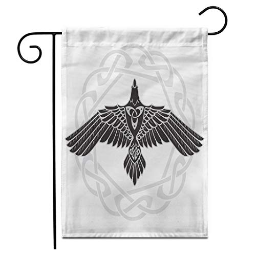 Adowyee 12'x 18' Garden Flag The Raven of Odin in Norse Celtic Style is olated on White Outdoor Double Sided Decorative House Yard Flags