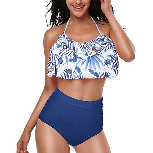 Conjunto de Bikini de Volantes Retro para Mujer Traje de baño de Dos Piezas con Cintura Alta Halter para Damas niñas-Navy-M