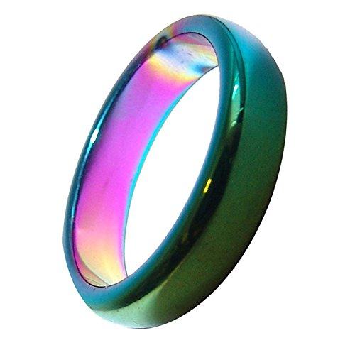 Hämatit Regenbogen Ring 6 mm Breite schöne schimmernde Regenbogen Farben verschiedene Größen. (52mm)