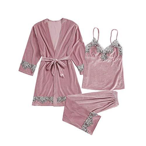 Pistaz Womens Warm Velvet Long Sleeve Pyjama Sets Soft 3 Piece Sexy Lace Backless Cami Dress with Chest Pads