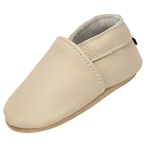 Yavero Pantoufles pour Bébé Poids Léger Chaussures en Souple pour Enfants Fille Confortable Anti-dérapant Chausson Enfant Garçons, Beige 12-18 Mois