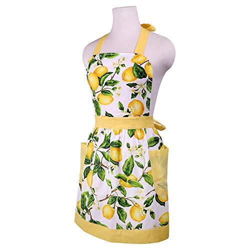 G2PLUS Damenschürze Baumwolle mit 2 Taschen, Hellgelb küchenschürze für Frauen, Kochschürze Blumenmuster zum Kochen, Backen