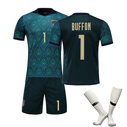 CHSC # 21 Pirlo # 3 Maldini # 1 Buffon Fußball Trikot Trainings uniform Set Kinder Herren italienische Auswärtsspiel Sportswear (Kurzarmshorts) Dark Green(#1)-M