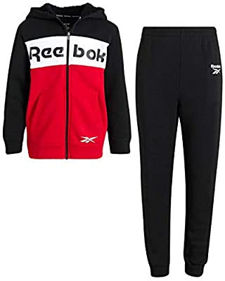 Reebok Boys' Jogger Set - 2 Piece Sherpa Lined Full-Zip Hoodie and Jogger Sweatpants Set (Toddler/Boys), Black/Red, Size 10'