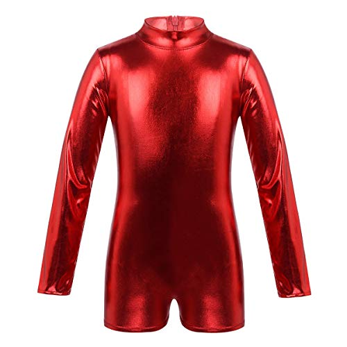 inlzdz Mailot Gimnasia Ritmica Niña Manga Larga Leotardo Gimnástico Brillante Mono de Danza Ballet Body Charol Cuello Alto Ropa de Escenario Competición Rojo 8 Años