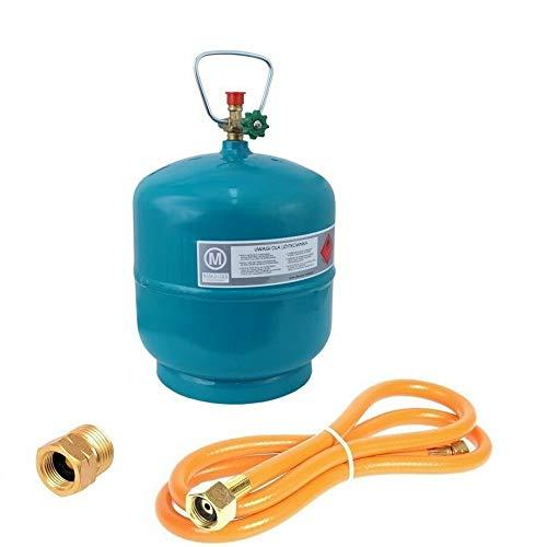 Leere befüllbare Gasflasche 3 kg / 7,2L Camping Grill Boot Propan Butan Gas + 1,5m Umfüllschlauch + Adapter