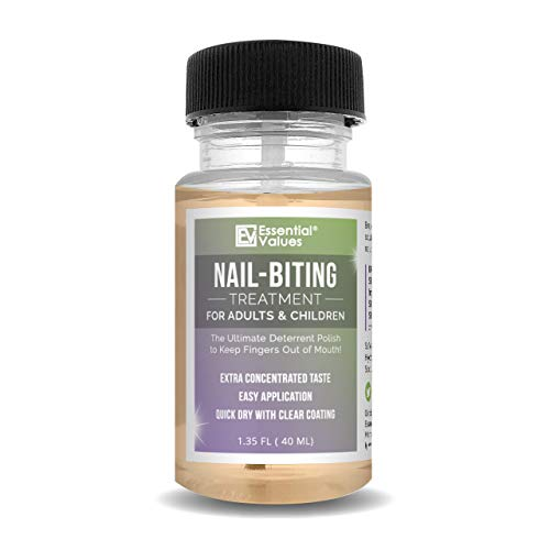 Nail-Biting Treatment for Kids & Adults (1.35 FL OZ), MADE IN USA | Prevent Thumb Sucking and Stop Nail Biting, Kick the Naughty Habit in 30 Days with Our Deterrent Polish by Essential Values