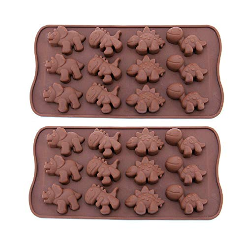 12-Cavity Dinosaur Chocolate Molds Silicone Candy Molds, 2 Pack Non-stick Dinosaur DIY Mold for Making Crayons Soap Cake Decoration Jelly Chocolate Gummy Candy Ice Cube