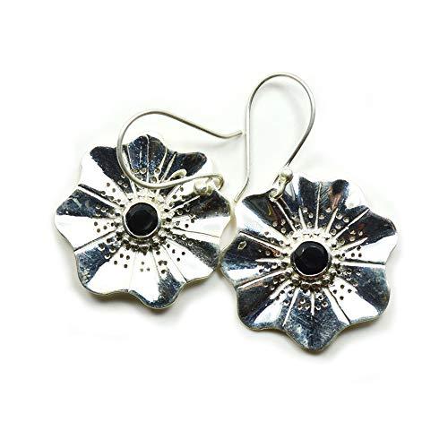 55Carat Pendientes de ónix negro estilo flor natural facetada con piedra preciosa negra 925 con gancho para mujer