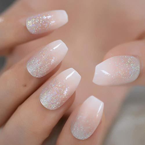 Rpbll Coffin Medium Glitter Nails Coal Black Silver Powder Translucent Shiny Fake Nails Pre-Designed Fashion Style Finger Nails-L5176