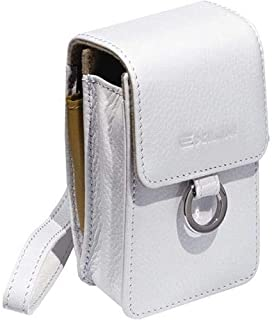 Casio Exilim EX-Case30WE Leather Pouch with Metal Ring Universal Camera Case for all Casio Cameras (White)