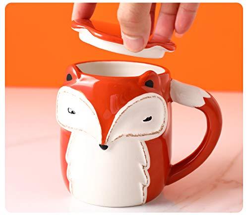 LOYWT Tasse mignonne de bande dessinée de tasse de, tasse à café, tasse de lait, cuillère en céramique de couvercle, tasse de petit déjeuner, tasse créatrice de grande capacité, Renard
