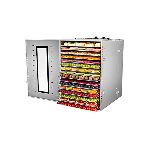 Lowest Price! XSWZAQ Food Dehydrator Machine 16 Trays Stainless Steel Electric Food Dryer Digital Ad...