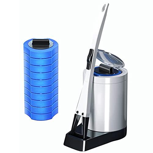 PPuujia Cepillo de Inodoro Desechable Limpieza Limpieza Cepillo Set Reemplazo Cabeza Esponja Baño Cocina Limpieza de plástico Rack (Color : 10pcs Cleaning Head)