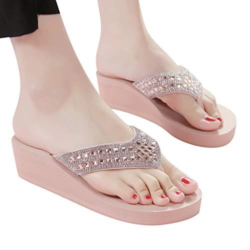 FeelFree+ Zapatillas de Verano para Mujer,Pendiente de con Diamantes de Imitación Cuñas de Moda Sexy y elegante Chanclas,Zapatos de Playa Bohemios Casual Antideslizantes