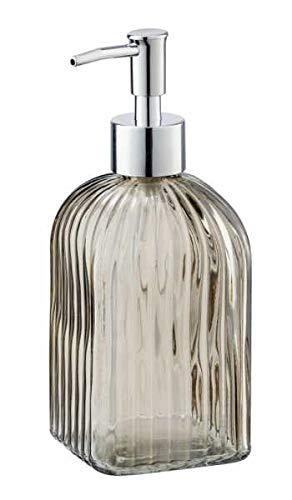 WENKO Seifenspender Vetro Braun eckig Echtglas - Flüssigseifen-Spender, Spülmittel-Spender Fassungsvermögen: 0.52 l, Glas, 7.5 x 19 x 7.5 cm, Braun