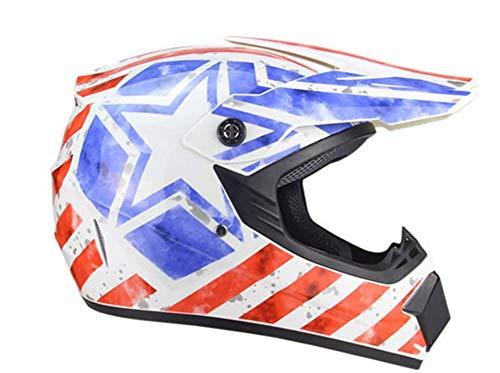 ZGYZ Juego de Cascos de Motocross para Motocicleta (5 Piezas) Cascos de protección para Motocicletas Todoterreno Enduro Quad MTB ATV para Hombres Mujeres, Rayas y Estrellas