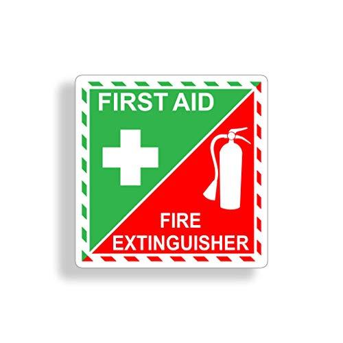 H421ld Pegatina de extintor de primeros auxilios para coche, vehículo semirrio, camión, caravana, remolque, barco, alerta de seguridad