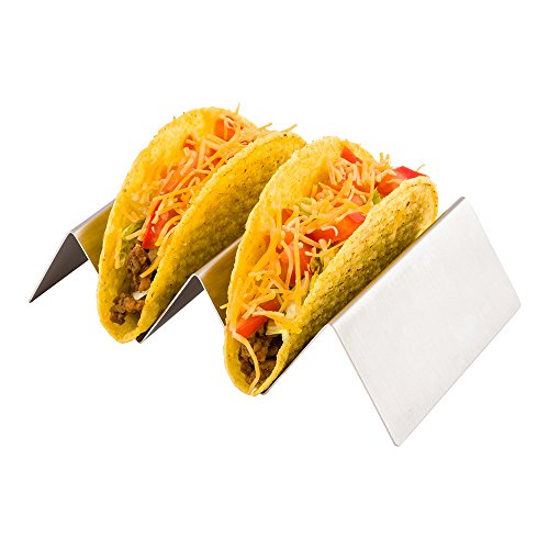 6.5 Inch x 4 Inch Taco Stand, 1 Reversible Taco Rack - Holds 2 Tacos, Dishwasher Safe, Stainless Steel Taco Holder, For Hard Or Soft Shells - Restaurantware