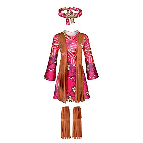 Disfraz de Paz Hippie de los 60 Mujeres Rock Halloween Retro Dress Up con Vestido Venda Calcetines con Flecos Arete Collar Juego Completo