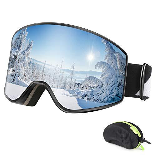 BFULL Skibrille, Anti-Fog UV400 Schutz OTG Schneebrille mit Verriegelungsknopf, Wechselobjektive Real REVO Objektiv, Helmkompatibler Snowboardbrille für Brillenträger Herren Damen Jugend