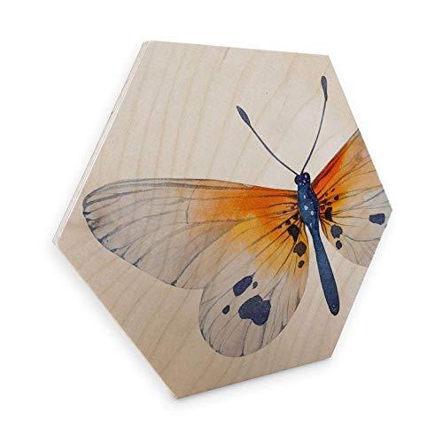 Hexagon - Holz Birke-Furnier - Kvilis - Schmetterling 02 Wanddeko Sechseck Frühling Falter Insekt Flügel ohne Zubehör Wall-Art