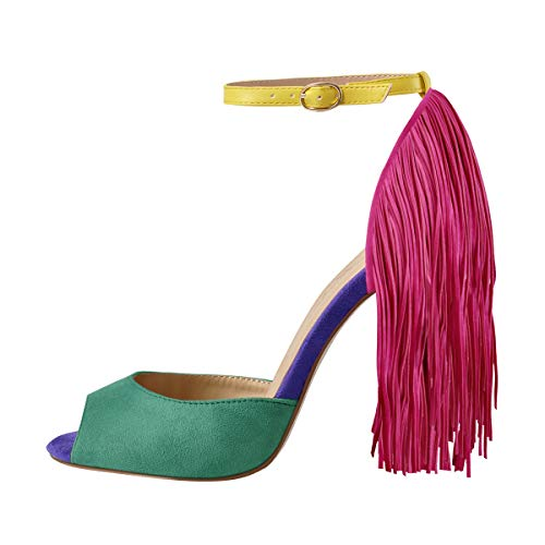 Richealnana Women's Fringe Ankle Strap Peep Toe Heeled Sandals Stiletto Heel Party Prom Shoes Multicolored Size 9