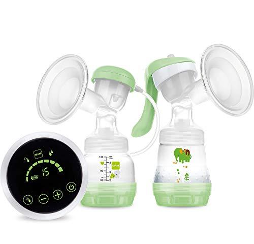 MAM 2-in-1 borstkolf, veelzijdig bruikbaar als handkolf of elektrische borstkolf voor comfortabel afkolven, met 2x MAM Anti-Colic babyflesje en 2x MAM bewaarbeker, groen