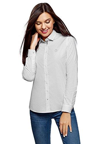oodji Ultra Damen Bedrucktes Hemd mit Stickerei, Weiß, DE 34 / EU 36 / XS