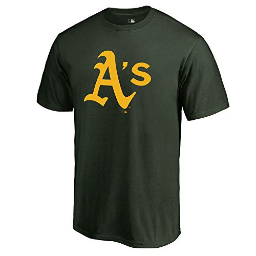 Outerstuff MLB Youth 8-20 Team Color Cool Base Polyester Performance Primary Logo T-Shirt (Medium 10/12, Oakland Athletics)