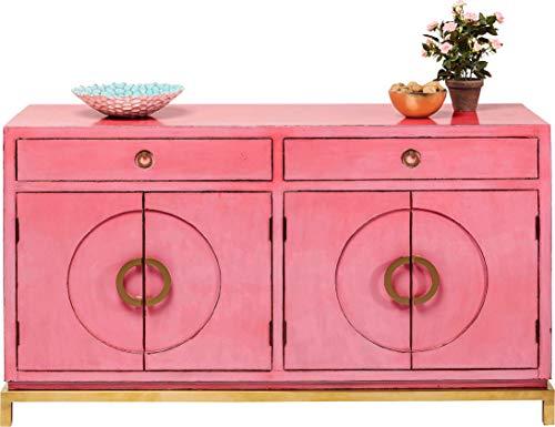 Kare Sideboard Disk Pink, 82771, rosane, breite Kommode, Schrank mit 2 Doppeltüren und 2 Schubladen für Wohnzimmer, pinkes Vintage TV...