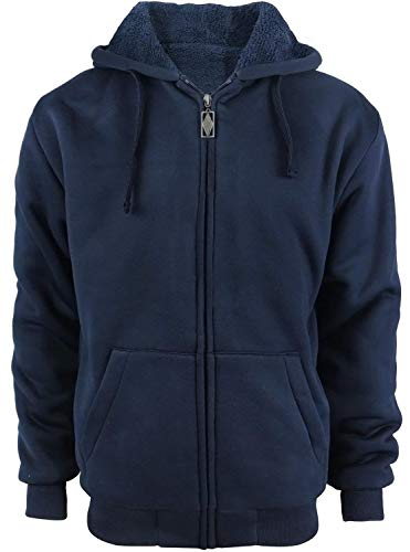 Tankoo Mens Fleece Sherpa Lined Full Zip Hoodie Heavyweight Jacket Coat(5XL, Navy)