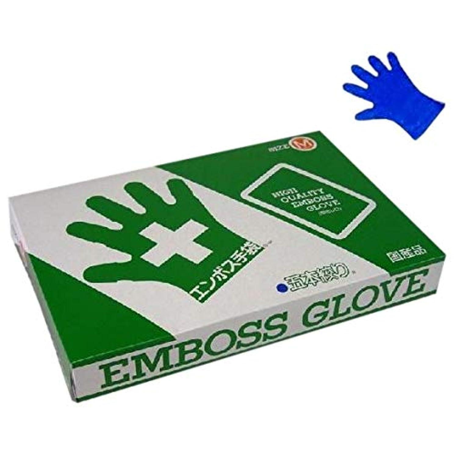 ロック登る要求エンボス手袋 5本絞り ブルータイプ 化粧箱入 東京パック M 200枚入×20箱