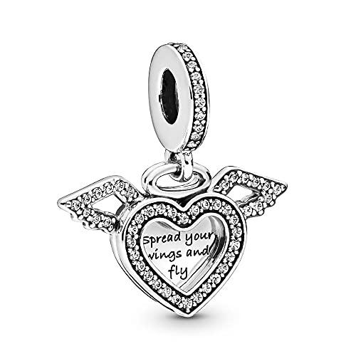 Pandora 925 Joyería de plata DIY CharmHeart y colgante de alas de ángel