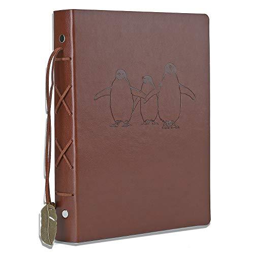 Notizbuch Leder, AIOR Notizbücher A5 Blanko Ringbuch 240 Seiten Skizzenbuch Mit Retro-Tags, Ungefüttertes Papiertagebuch für Mädchen, Frauen, Jungen, Pinguin