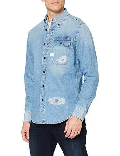 G-STAR RAW Men's Bristum Flap Button Down Slim Shirt, Sun Faded Oregon Blue Restored C437-b905, L