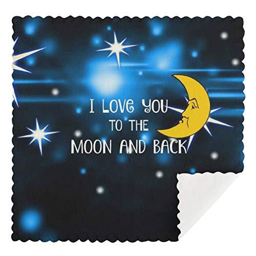 Juego de 2 toallas de cocina reutilizables, con diseño 'I Love You to The Moon And Back-Starry Sky Absorbentes, lavables a máquina, para cocina, bar, mostrador