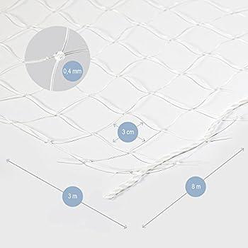 Bella & Balu Filet de Protection Transparent pour Chat pour sa sécurité pour Balcon & Terasse | Filet Anti-Fugue avec Crochets, Chevilles, Corde complète et Instructions de Fixation fournis