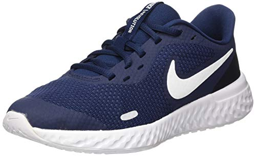 Nike Unisex-Kinder Revolution 5 (GS) Laufschuhe, Blau (Midnight Navy/White-Black), 36 EU