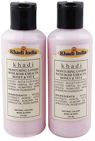 Glamorous Hub Khadi India lozione idratante naturale con estratti di rosa, miele e olio di vitamina E (confezione da 2X210Ml) (l'imballaggio può variare)