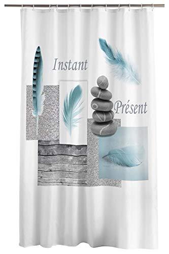 one-home Duschvorhang 180x200 cm Feder Steine grau weiß Wasserabweisend Badewannenvorhang