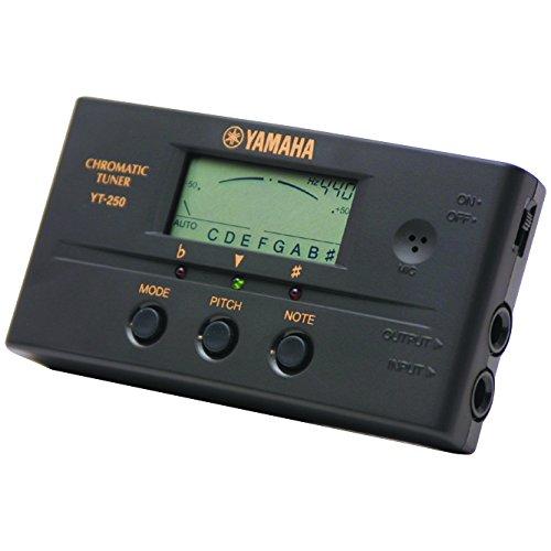 Yamaha YT250 - Afinador crómatico para guitarra y bajo (display LCD), color negro